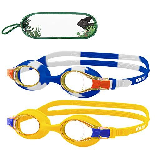 MONKEY FOREST Kid Swim Goggles, 2 Packs Anti-Fog No Leak Kids Swimming...
