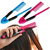 1 Pack Hair Straightening Comb Hairdressing Styling Hair Straightener V Shaped Straight Comb Color Random