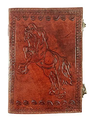 Kooly Zen - Cuaderno de notas para diario, libro, álbumes, libro de invitados, piel auténtica, caballo, vintage, 18 cm x 25 cm, 120 hojas, 240 páginas, papel premium