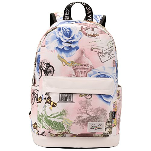 Mocha weir JIAYBL Laptop Taschen Schultern Kinder Schultaschen Rucksack Hochschule Mädchen Canvas Pack reisen (Pfingstrose Blumen 01)