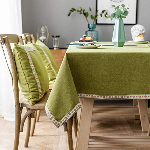Oukeep Tischdecken Aus Baumwolle Und Leinen wasserdichte Und Ölbeständige Teetischdecke Einfarbige Spitze Rechteckige Heimdekoration