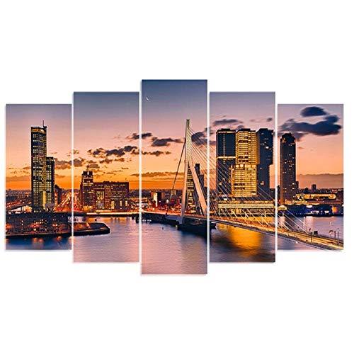 5D DIY Diamond Borduurwerk Rotterdam Brug Sunrise 5 Stks Diamant Schilderen Volledige Boor Multi-Picture Combinatie Decor Gift 25x35cmx2 25x50cmx2 25x65cmx1
