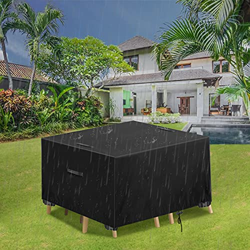 Essort Garden Furniture Covers Waterproof Garden Table Cover Rectangular 420D Heavy Duty Oxford Fabric Patio Furniture Covers Covers for Outdoor Rattan Furniture Cover Windproof Anti-UV 123x123x74cm