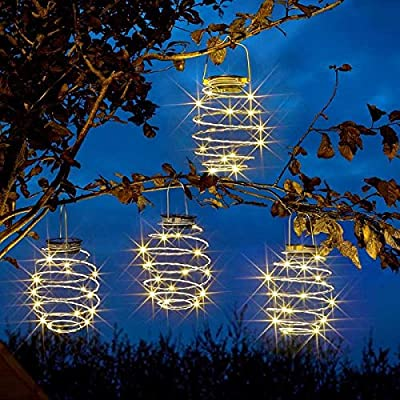 Garden Mile Solar Powered Warm White Copper LED Spiral Hanging Lights Garden Outdoor Lighting (Spiral Light x 4)