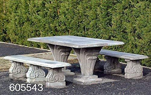 pomidu-Living Steinbank - Steinbank in Antik Optik für den Garten - Wetterfeste Sitzbank aus Steinguss - Steinmöbel für Outdoor Hellgrau H 45cm