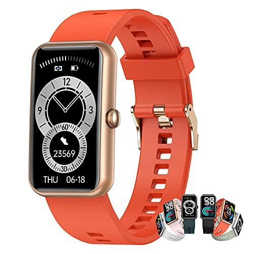 Relojes Inteligentes Hombre Llamada Bluetooth Con Pulsómetro,Podómetro,Monitor De Sueño,Modos De Deportes Cronómetrol,Pulsera De Actividad,Smartwatch Inteligentes Hombre Para Ios Y Android,Naranja