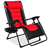 Best Choice Products Oversized Padded Zero Gravity Chair, Folding Outdoor Patio Recliner for Backyard, Beach w/Headrest, Side Tray, Textilene Mesh - Red