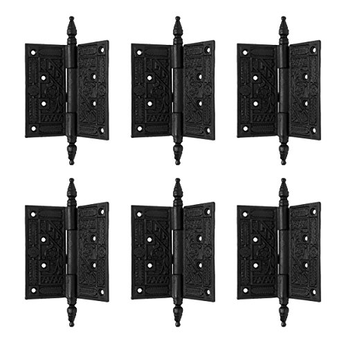 Wrought Iron Butt Hinge Black Victorian Steeple Tip Pack Of 6