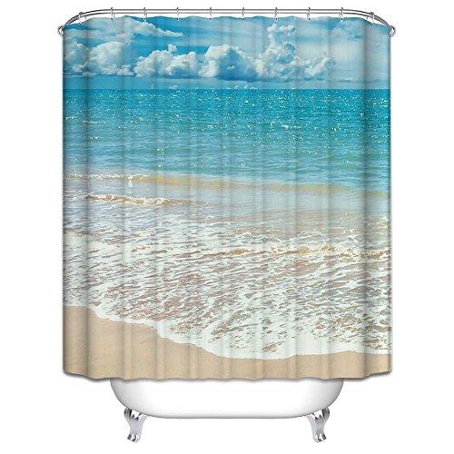Qilerongrong Sea Beach Badezimmer Duschvorhang, Anti-Schimmel 100prozent Polyester Badewanne Duschvorhänge, 3D Effekt & Digitaldruck, Wasserdicht mit 12 weißen Haken, 180 x 180cm