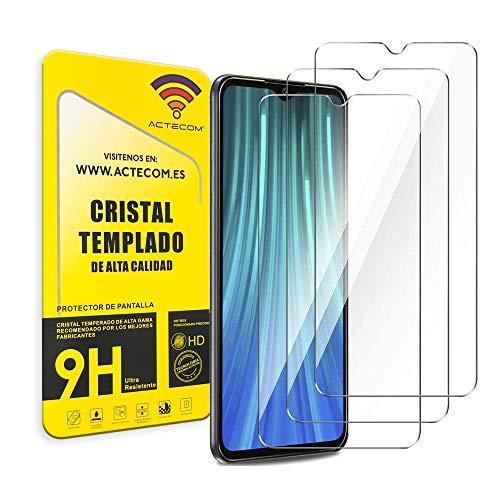 ACTECOM Pack de 3 Protector de Pantalla Compatible con Xiaomi Redmi Note 7 Cristal Templado CASE FRIENDLY 9H 2.5D (3 uds.)