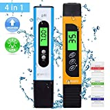 sumgott Medidor pH, Medidor TDS PH Piscina Medidor EC ph 4 en 1 Pantalla LCD Retroiluminada para Piscina, Agua Potable, pecera