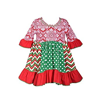 Bonnie Jean Holiday Christmas Dress - Mixed Panel Dress for Baby and Toddler Girls Red Green White 3T