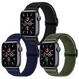 Supore 3 Pack iWatch Correas Compatible con Apple Watch 44mm 42mm 38mm 40mm, Pulseras de Repuesto de Nylon Correa para iWatch Series 6 5 4 3 2 1 / Apple Watch SE, Mujer y Hombre