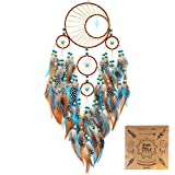 Urdeoms Dream Catcher Large Dream Catchers with Turquoise Boho Wall Hanging for Bedroom Dorm Living Room Dia 6'(NO.34)
