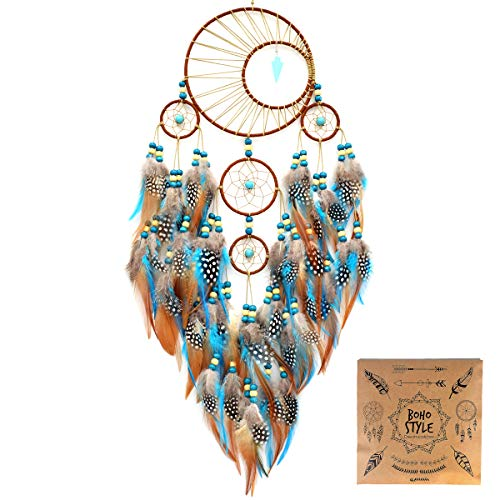 Urdeoms Dream Catcher Handmade Turquoise Dream Catchers with Feathers Large Wall Hanging Home Decor Dia 6'(NO.34)