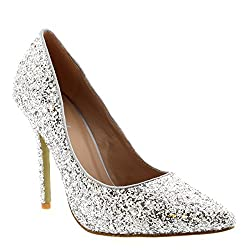 High heels with silver crystals