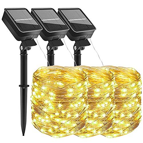 [3 Stück] LED Solar Lichterketten Aussen, Weihnachtsbeleuchtung, 300 LED IP65 Wasserdicht 3X10M 32.8Ft 8 Modus Solar lichterkette Deko für Gärten, Balkon,Weihnachten,Terrasse, Hof, Party