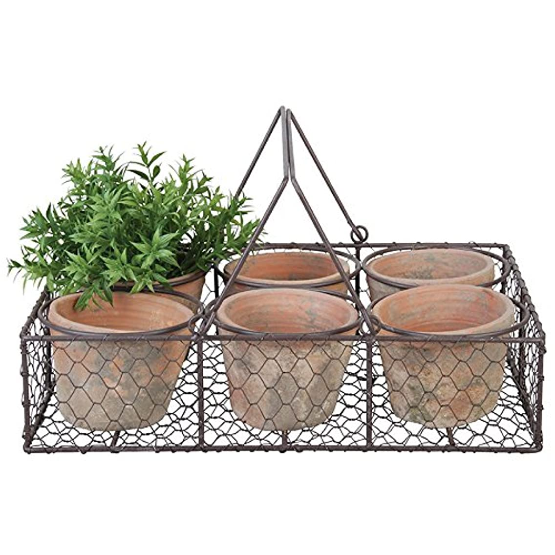 Esschert Design AT13 Aged Terracotta 6 Flowerpots in Metal Basket with Handle