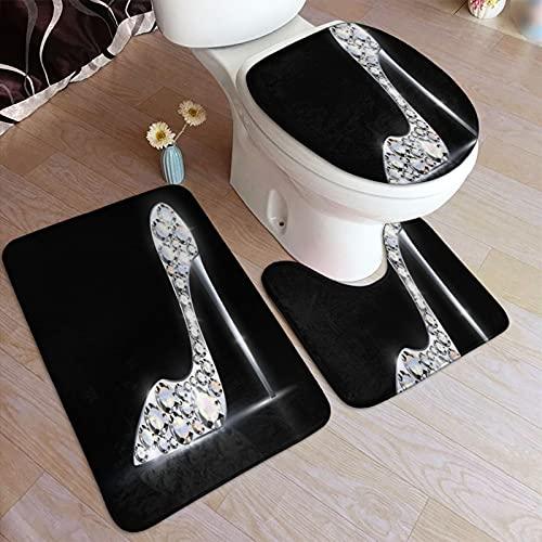 PANILUR 3 Unidades Antideslizante Juego de Alfombras para,Zapato de joyería de Plata Abstracta Zapatos de Cristal de tacón Alto,Transpirable de Alfombras Suave Agua Absorbente WC Cuarto de Baño