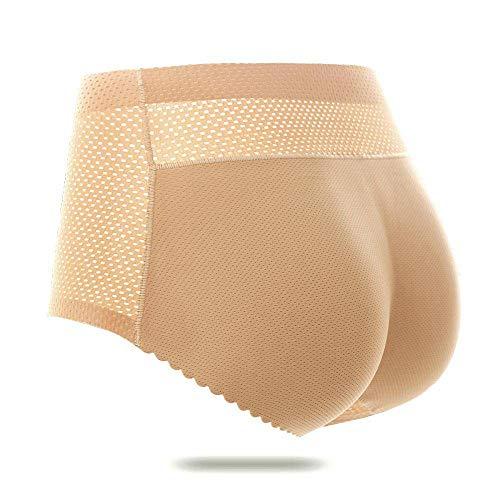 Culotte Push Up Remonte Fesse Rembourrée Invisible pour Femmes Soulever des sous-vêtements sans Couture Butt Lifter Hip Enhancer Panty Hip Pads Shapewear Fausse Fesse,Beige,M