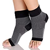 QUADA Ankle Brace Support Sleeve (1 Pair) - Best Ankle Compression Socks for Plantar Fasciitis, Arch Support, Foot & Ankle Swelling, Achilles Tendon, Joint Pain, Injury Recovery. (Black)