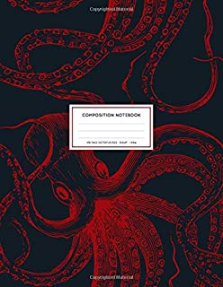 Vintage Octopus Red: Ocean Sea Life Octopus Notebook College Ruled 8.5x11