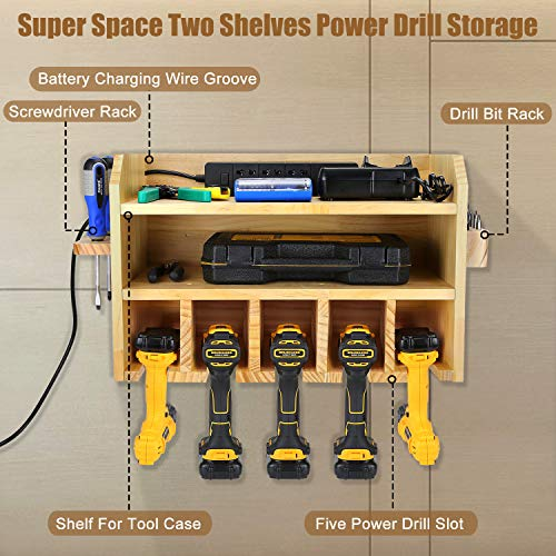 Power Tool Storage, Drill Charging Station Wall Mount Five Drill Holder with Screwdriver Rack and Drill Bit Rack Garage Storage Tool Organizer