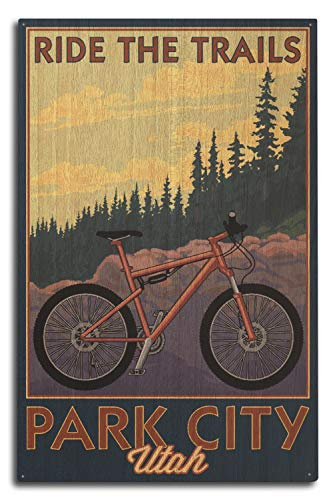 Lantern Press Park City, Utah - Ride The Trails - Mountain Bike Scene (10x15 Wood Wall Sign, Wall Decor Ready to Hang)