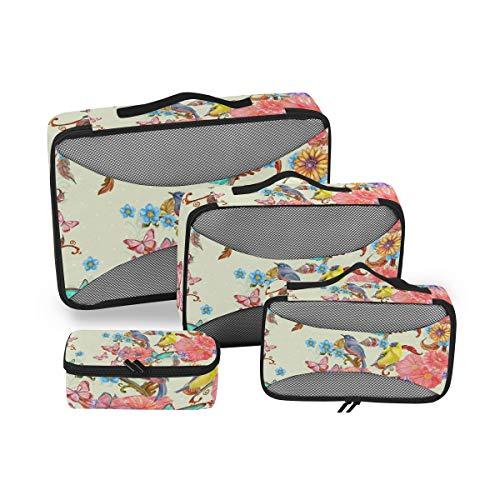 Cpyang, set di 4 cubi da viaggio con fiori, girasoli, uccelli, farfalle, per valigia