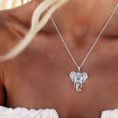 Simsly Collar con colgante simple con colgante de elefante para mujeres y niñas (plata)