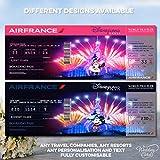 Tarjeta personalizada de Disney con diseño de billete de vuelo para cualquier viaje, cualquier viaje
