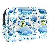 Bolsa de Maquillaje para niños Árbol de Coco de Ballena Azul Accesorio de Viaje Neceser Pequeño Bolsas de Aseo Impermeable Cosmético Organizadores de Viaje 18.5x7.5x13cm