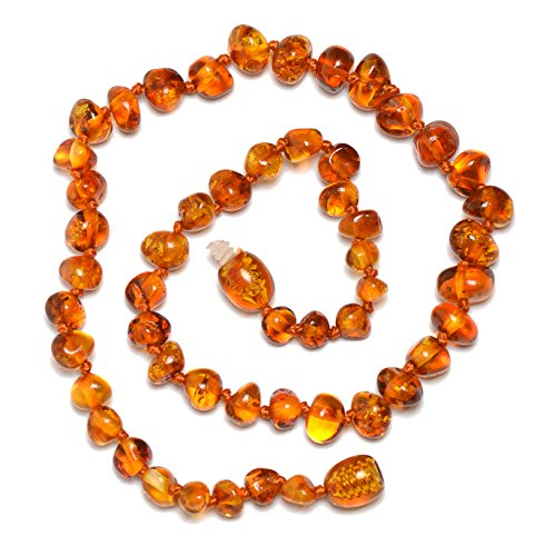 Genuine Baltic Amber Necklace - Polished Beads - Cognac Color - Knotted Between Beads - 30cm Long