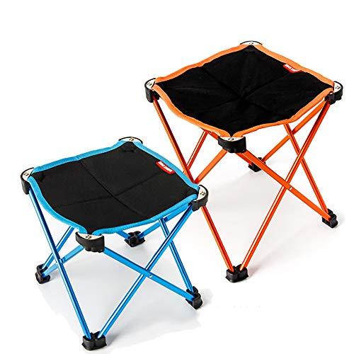 XIAOHE Portable Mini Petit Tabouret Pliant, Assise de Tabouret de Cadre extérieur léger, mobilier de Camping en Plein air pour la randonnée en Montagne + Étui de Transport,Blue+Orange