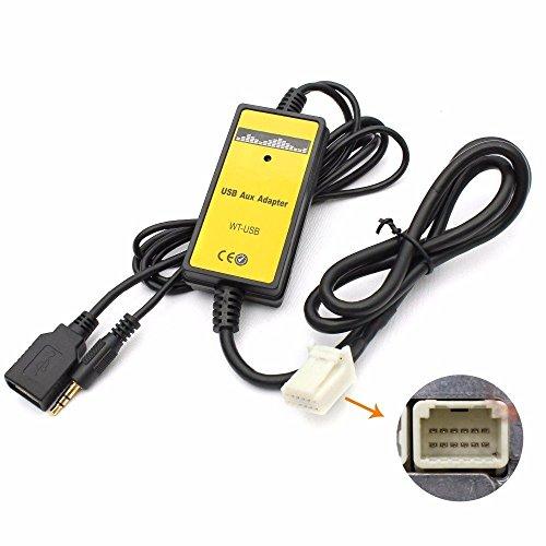 Adaptador para interfaz USB y mp3 con entrada auxiliar de 3,5mm de automóvil Toyota...