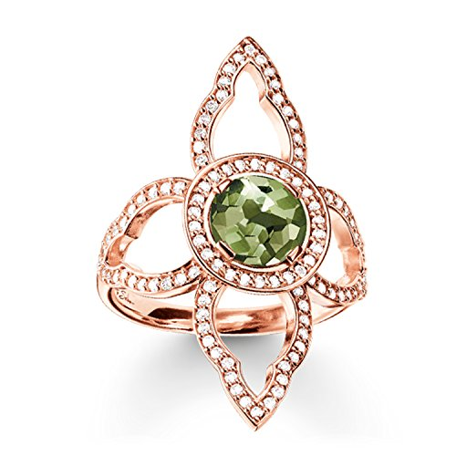 Thomas Sabo Damen-Ring Silber vergoldet Spinell grün Gr. 52 (16.6) - TR2067-635-6-52