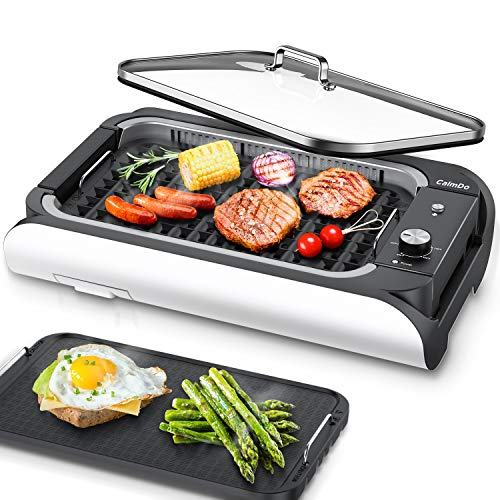CalmDo Indoor Smokeless Grill, Electric BBQ Grill and Non-Stick Griddle Plates with 3 Temperature Control, Removable Drip Tray, Tempered Glass Lid and 14'' X 7.9'' Grilling Surface