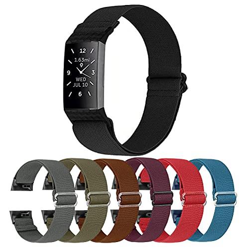 Cinturino compatibile con Fitbit Charge 4 / Charge 4 SE / Fitbit Charge 3 / Charge 3 SE / Cinturino in tessuto di ricambio regolabile in nylon elastico sportivo per uomo e donna,