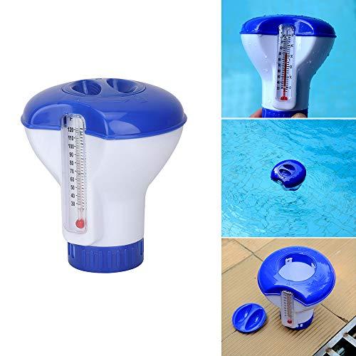 Cihely Dispensador de productos químicos para piscinas pequeñas con termómetro, dispensador flotante de cloro para piscinas, bañera de hidromasaje sobre piscinas terrestres