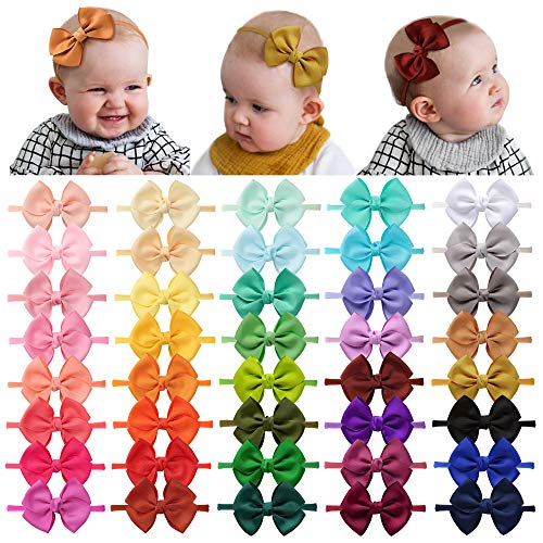 40 Pieces Baby Girls Headbands Nylon Hairband Grosgrain Ribbon Hair Bows Handmade Hair Accessories for Newborn Infant Toddler Kids