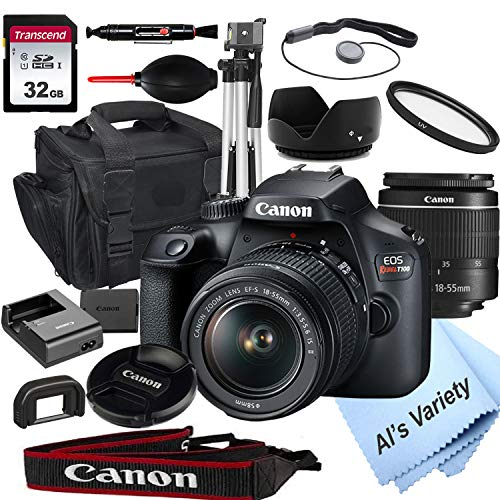 Canon EOS Rebel T100 DSLR Camera with 18-55mm f/3.5-5.6 Zoom Lens + 32GB Card, Tripod, Case, and More (18pc Bundle)