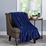 Bedford Home (Midnight Blue Microfiber Velvet Throw Blanket