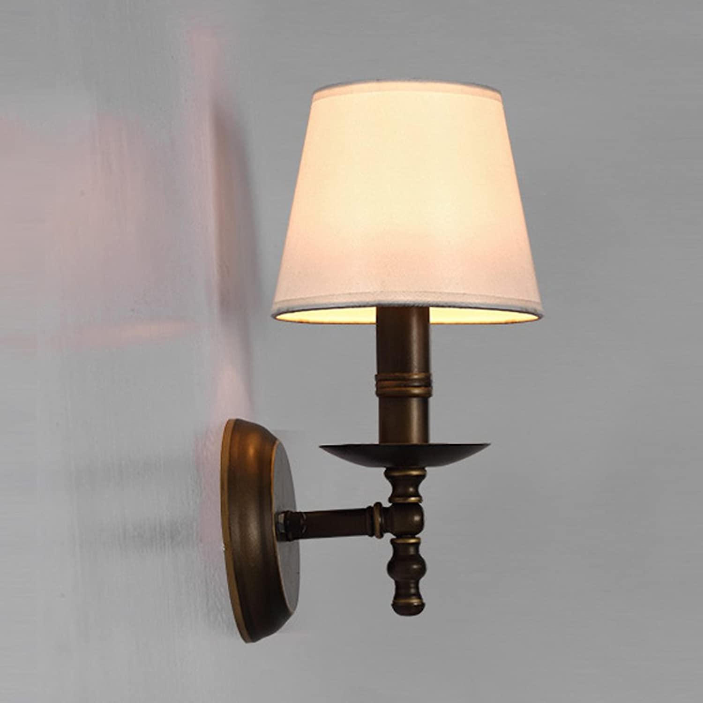 Wandleuchte American Style Iron-Art Wandleuchte, Stoff Lampenabdeckung Aisle Wandleuchte, E14 (ohne Glühbirne) A+
