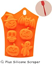 6 Cavities Halloween Silicone Soap Mold - Irregular Pumpkin, Bat, Skull Shape Backing Mold for Homemade Craft Pudding, Muffin,Brownie, Loaf and Cheesecake Nonstick & BPA Free (Orange)