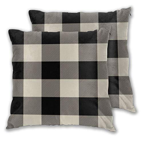 Juego de 2 fundas de cojín rústico, color negro y beige, a cuadros de búfalo, fundas de almohada decorativas, cuadradas, fundas de almohada para dormitorio, sala de estar, 45 x 45 cm