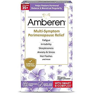 AMBEREN PERIMENOPAUSE SUPPLEMENT IS CLINICALLY SHOWN TO RELIEVE UP TO 10 PERIMENOPAUSE SYMPTOMS: Fatigue, Irritability, Sleeplessness, Anxiety & Stress, Hot Flashes, Night Sweats, Muscle & Joint Aches, Headaches & More. HELPS RESTORE HORMONAL BALANCE...