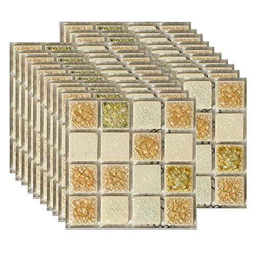 1 paquete de 20 pegatinas de pared 3D de moda para azulejos de pared, autoadhesivas, portátiles, impermeables, autoadhesivas, ideales para el hogar, sala de estar, decoración de pared