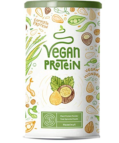Vegan Protein | Hazelnut | Plant Protein from Sprouted Rice, Peas, Flax Seed, Amaranth, Sunflower Seed, Pumpkin Seed | 600g Powder with Natural Hazelnut Flavour