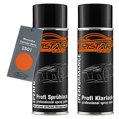 TRISTARcolor Autolack Spraydosen Set für Mercedes/Daimler Benz 2501 Rotorange/Red-Orange Basislack Klarlack Sprühdose 400ml