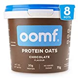 Oomf Whey Protein Porridge Instant Oats, 20 g Protein Per Pot, No Added Sugar, No Artificial Flavours or Ingredients, 75 g Per Pot, Chocolate Flavour, Pack of 8